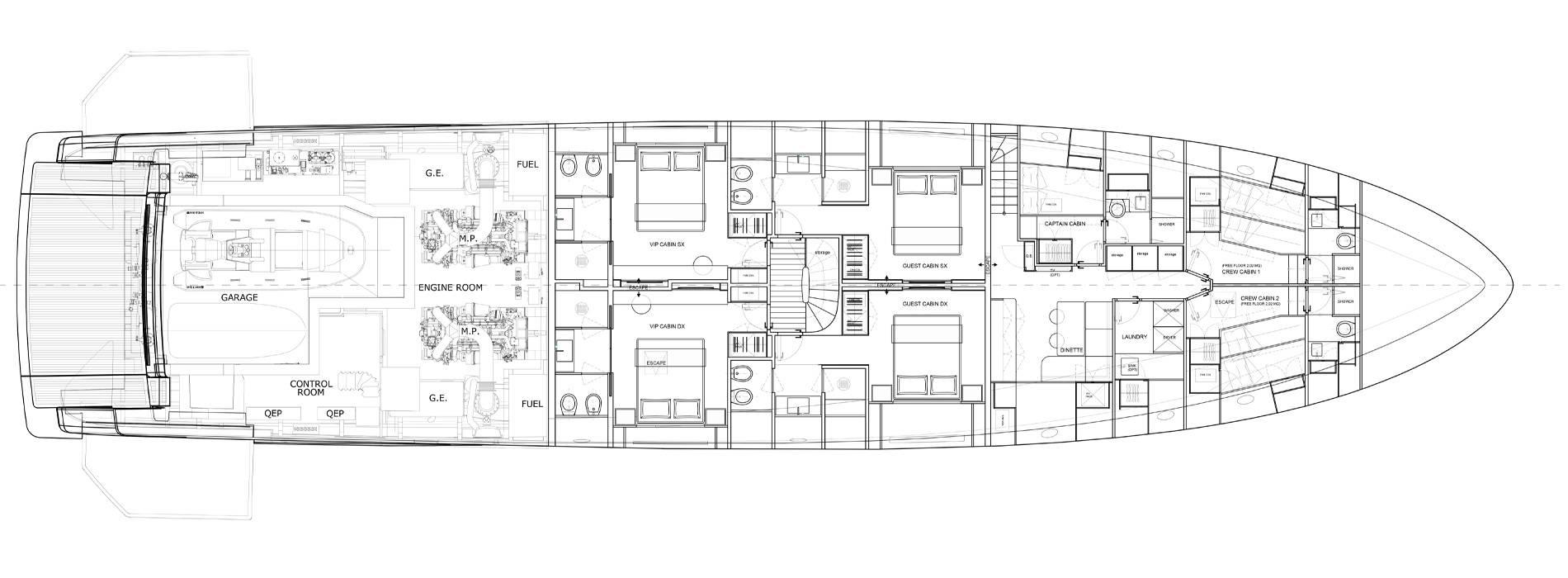 Sanlorenzo Yachts SD118 Lower deck