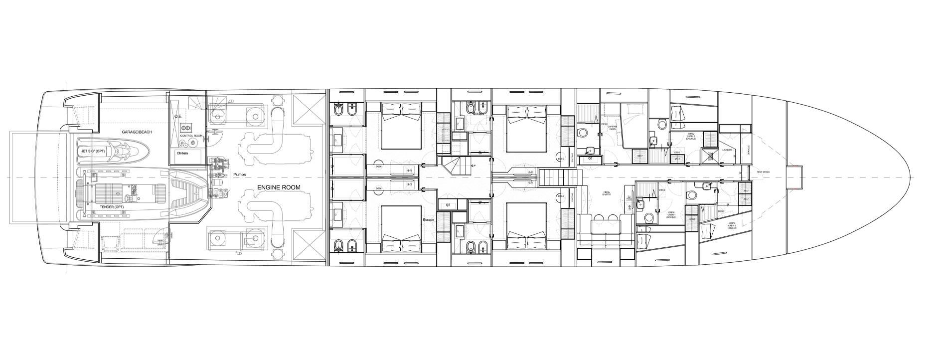 Sanlorenzo Yachts SL120 Asymmetric Lower Deck